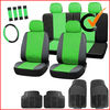PU LEATHER CAR SEAT COVERS BLACK 11+3 RUBBER CAR MATS