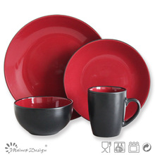 two-tone ceramic crockery fine china red wedding luxury modern tableware dinner set with box packing