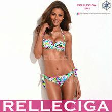 RELLECIGA Bandeau Bikini Swimsuit Series - Neon Color Doodle Print Bandeau Top Hot Girl Sex Bikini Set with Removable Ties at Ne
