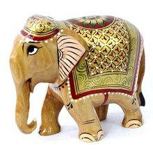 mano a mano de la india real de oro elefante meenakari de madera pintada escultura estatua