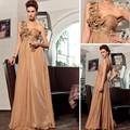 bon marché de gros échantillon réel dorisqueen élégant une épaule amie fleurs plissée longue robe formelle dresses30720 de couleur café