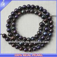 6-7MM ROUND POTATO GENUIN NATURAL BLACK PEARLS