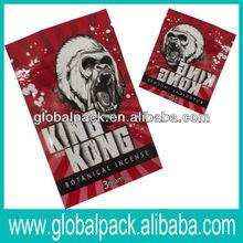 King Kong Top open plastic zipper bag for herbal incense