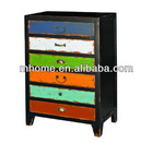 French country style cheap vintage wooden storage cabinet furniture with 6 colorful drawers