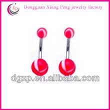 Fashion UV softball belly button rings