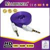 fashionable colourful flat DC3.5M/M AUX Audio RCA cable 1meter