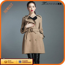 Brand Name New European Brown Wool Fashion Lady Cashmere Winter Coat
