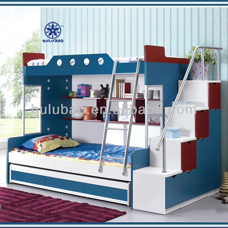 Enfants lit superpos en bois avec des escaliers enfants lit superpos en boi - Lit mezzanine avec marche ...