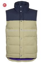 high collar down vest for men,beige AI7202