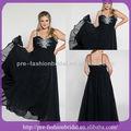 2013 andar de comprimento chiffon frisado appliqued esparguete preto plus size vestidos eveing made in china