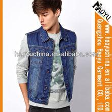 wholesale cheap waistcoat guangzhou design men jackets, fancy denim jackets, denim baseball jackets, boys denim vest (HYJ480)