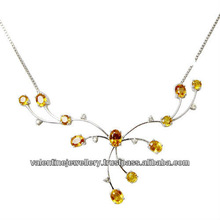 yellow sapphire white gold jewelry necklace, tanmaniya style small necklace set in white gold, 18k white gold jewelry set