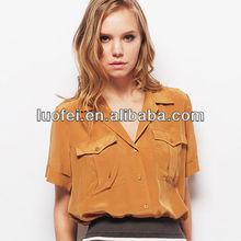 Summer short sleeve button up shirttail fashion designer clothes for women