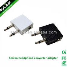 Stereo Earphone Converter Adapter for Airplane On Plane