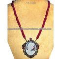 925 sterling silver oro 14k cameo collana gioielli, diamante rubino carving cammeo pietra preziosa collana di gioielli grossista fornitore