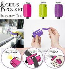 Auto emergency tool key holder girls pocket glass breaker belt cutter light