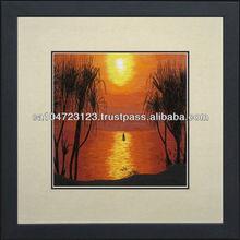 37211-Sunset--Susho, King Silk Art 100% Handmade Silk Embroidery
