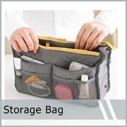 Dual Organizer Travel Pouch Purse Zipper Cosmetic Storage Bag Insert Inside BAGS