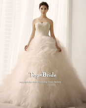 S1398 High Quality Lace Real Romantic Ruffle Pearls Bodice Fluffy Wedding Dresses