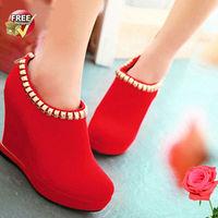 S4031 FREE SHIPPING wholesale shoes 2013 wedge shoes metal trim boots fashion women high heel shoes