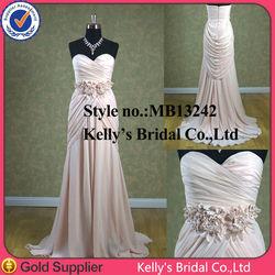 fabric flowers appliqued on waist light pink chiffon evening dress