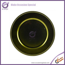 Whlesale olive green plastic wedding charger plate for wedding table decorations