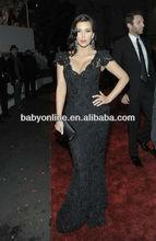 New Arrival Kim Kardashian Black Beaded Lace Evening Gown Celebrity Dress Replicas 2013 Golden Globes Black Evening Dresses