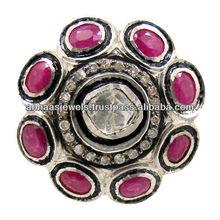 Diamante rubino gemma anello in oro 14k, argento 925 gemma diamante anello vintage gioielli, grossista gioielli fatti a mano