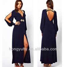Elegant fashion blue beaded thigh slit women evening dress