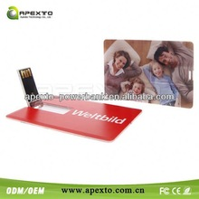 China printed plastic credit card size/type usb memory/drives 8GB