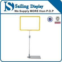 POP sign stand flooring display alumnium pole with chrome base