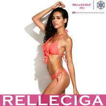 2014 New Arrivals! RELLECIGA Solid Neon Orange Full-Lined Ruffle Triangle Top with Brazilian Cut Butt Bikini Set
