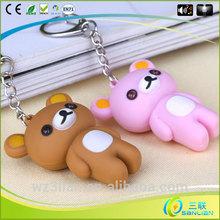 custom unique souvenir teddy bear led light sound key ring