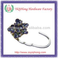 3D purple flower stones purse hanger