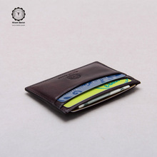 Fashion Color changed id card holder Genuine Italian Vegetable Leather card holder Natural wallet
