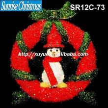 [2012 New] 3D sparkling tinsel christmas Wreath light + penguins christmas decoration (Outdoor MOQ: 200PCS, GS/CE/UL)