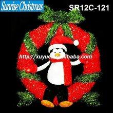 [2012 New] 3D sparkling tinsel christmas wreath /garland light + snowman Decoration (Outdoor MOQ: 200PCS , GS/CE/UL)