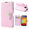 Silk Texture Crystal Stone Leather Cell Phone Case for Samsung Galaxy Note 3 N9005 N9002 N9000