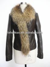 Genine lamb leather jacket with long raccoon fur collar for women