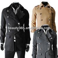 Fashion Men's Double-breasted Coat Winter Woolen Blends Long coat