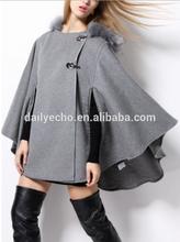 2014 toptan son sonbahar moda bayan asil zarif yün burun panço ceket kürk kaput