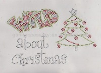 wild about Christmas rhinestone transfer Iron on for clothing decoration