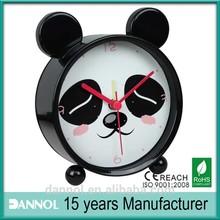 Guangzhou Home Decor Quartz Metal kids Cute Panda animal Alarm Clock