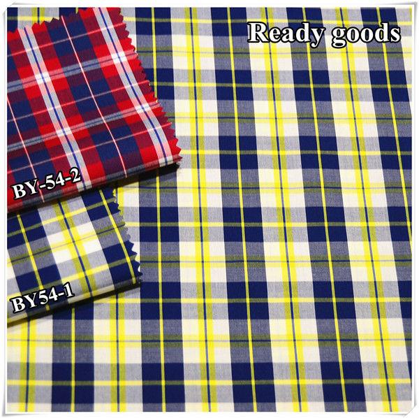 Ready goods, plaid yarn dyed cotton fabric china wholesale