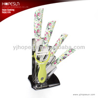Flower and leaf-shaped ceramic knives and a peeler