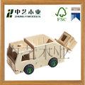 Handmade crianças interessante de madeira de brinquedo caminhão de lixo