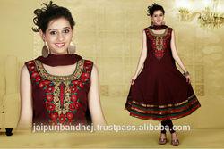 Ethnic Long Anarkali Bollywood Designer Jaipuri Print Salwar Suit Salwar Kameez Suit