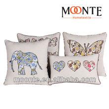 2014 Cheap New Linen Latest Design Animal Applique Decorative Sofa Cushion