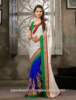 New designers saree blouse hand designs silk bollywood ethnic sari latest indian sarees