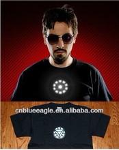 iron man designs for 100% cotton led flashing el t-shirt